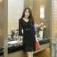RP5911039 ชุดเดรสลูกไม้คอวีแขนยาวเข้ารูปเกาหลีแซ็กซี่(พรีออเดอร์) thumbnail 4