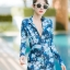 [Size M, L, XL] ชุดว่ายน้ำวันพีชขาสั้นซิปหน้า ลายดอกสีฟ้า thumbnail 3