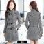 CW6010008 เสื้อโค้ทเสื้อคลุมกันหนาวเกาหลีผ้าผสมขนสัตว์สีดำและขาว(พรีออเดอร์) thumbnail 1