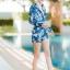 [Size M, L, XL] ชุดว่ายน้ำวันพีชขาสั้นซิปหน้า ลายดอกสีฟ้า thumbnail 4
