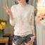 RP5911049 เสื้อลูกไม้เกาหลีสวยหวาน คอสูงแขนยาวฤดูใบไม้ร่วงและฤดูหนาว(พรีออเดอร์) thumbnail 1