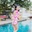 [Free size] ชุดว่ายน้ำวันพีชแขนยาวเว้าหลัง รุ่น Sofia สีดำลายชบา thumbnail 5