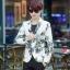 JM6105001 เสื้อสูทผู้ชายพิมพ์ลายสีขาวเข้ารูปแฟชั่นเกาหลี thumbnail 1