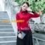 UM6102016 เสื้อยืดแขนยาวโมฮีเมียนสีดำและแดง เย็บปักถักร้อยชาติพันธุ์ thumbnail 5
