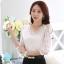 RP5911044 เสื้อลูกไม้เกาหลีสวยหวาน คอวีแขนยาว (พรีออเดอร์) thumbnail 1