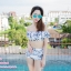 [Free size] ชุดว่ายน้ำทูพีชบราเปิดไหล่ รุ่น Laila ลายหินอ่อน สีขาว thumbnail 7