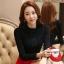 RP5911046 เสื้อลูกไม้เกาหลีสวยหวาน คอสูงแขนยาวฤดูใบไม้ร่วงและฤดูหนาว (พรีออเดอร์) thumbnail 3