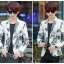 JM6105001 เสื้อสูทผู้ชายพิมพ์ลายสีขาวเข้ารูปแฟชั่นเกาหลี thumbnail 2