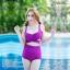 [Size S,M] Over Cross (สีม่วง) ชุดว่ายน้ำ ทูพีทแนววินเทจ บราไขว้หน้า กางเกงเอวสูง thumbnail 1