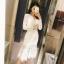 RP5911041 ชุดเดรสลูกไม้คอกลมแขนยาวสีดำขาวเข้ารูปเกาหลีระบายยาว(พรีออเดอร์) thumbnail 1