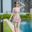 [Free size] ชุดว่ายน้ำทูพีชสายเดี่ยว รุ่น My Dear สีชมพูลายดอก thumbnail 2