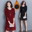 RP5911020 เดรสลูกไม้สีดำ สีแดงคอกลมแขนยาวเก๋เกาหลีทรงหลวม(พรีออเดอร์) thumbnail 1