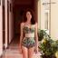 [Size S,M] ชุดว่ายน้ำทูพีช บราถักหลังลายดอกกุลาบเขียว ผ้ามันเงา กางเกงเอวสูง thumbnail 1