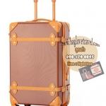 กระเป๋าเดินทางวินเทจ รุ่น colorful น้ำตาลเข้มคาดน้ำตาลอ่อน ขนาด 22 นิ้ว