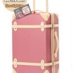 กระเป๋าเดินทางวินเทจ รุ่น colorful ชมพูกระปิคาดชมพูอ่อน ขนาด 18 นิ้ว