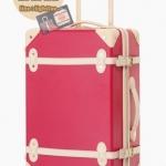 กระเป๋าเดินทางวินเทจ รุ่น colorful แดงเข้มคาดชมพูอ่อน ขนาด 18 นิ้ว
