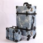 กระเป๋าเดินทางวินเทจ รุ่น เรโทรยีนส์ สีฟ้าขาว