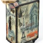 กระเป๋าเดินทางวินเทจ รุ่น vintage classic ลายเมืองฝรั่งเศส ขนาด 24 นิ้ว