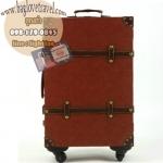 กระเป๋าเดินทางวินเทจ รุ่น vintage classic น้ำตาลเลือดหมูคาดน้ำตาล ขนาด 24 นิ้ว