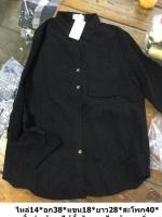 เสื้อเชิ้ตสีดำ ผ้าลูกไม้คอตตอนนิ่ม ลายสวยสุภาพ