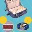 กระเป๋าเดินทางวินเทจ รุ่น vintage retro น้ำเงินคาดชมพูอ่อน เซ็ตคู่ ขนาด 12+22 นิ้ว thumbnail 7