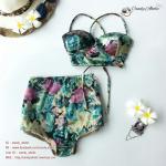 Size S ชุดว่ายน้ำทูพีช บราถักหลังลายดอกกุลาบเขียว ผ้ามันเงา กางเกงเอวสูง