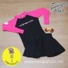 [Size S,M] ชุดว่ายน้ำ แขนยาว รุ่น Minerva (สีดำแขนสีชมพู) และ กระโปรงยาว