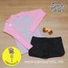 [Size S,M] ชุดว่ายน้ำ แขนยาว รุ่น Minerva (สีม่วงแขนสีชมพู) และ ขาสั้น