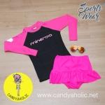 [Size S,M] ชุดว่ายน้ำ แขนยาว รุ่น Minerva (สีดำแขนสีชมพู) และ กระโปรงระบายล่าง