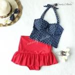 (free size) ชุดว่ายน้ำ ทูพีช สีกรมลายดาว บราเป็นแบบสวมเต็มตัวไม่โป้ กระโปรงแดง