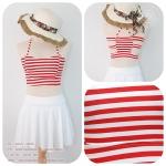 (free size) ชุดว่ายน้ำ สีขาวแดง ลายขวาง โชว์หลัง