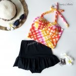 (free size) ชุดว่ายน้ำ ทูพีช บราสีส้มเหลือง บราเป็นแบบสวมเต็มตัวไม่โป้ กระโปรงสีดำ