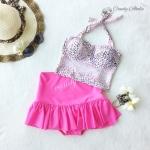(free size) ชุดว่ายน้ำ ทูพีช ลายเสือดาวสีชมพู บราเป็นแบบสวมเต็มตัวไม่โป้ กระโปรงสีชมพู