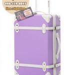 กระเป๋าเดินทางวินเทจ รุ่น colorful ม่วงอ่อนคาดขาว ขนาด 18 นิ้ว