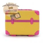 กระเป๋าเดินทางวินเทจ รุ่น retro box เหลืองคาดชมพูเข้ม ขนาด 13 นิ้ว