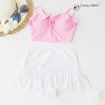 (free size) ชุดว่ายน้ำ ทูพีช บราแบบใหม่มาพร้อมโครงเหล็กช่วยให้กระชับและดันทรง สีชมพูนม ชุดว่ายน้ำ-corset01