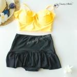 (free size) ชุดว่ายน้ำ ทูพีช บราแบบใหม่มาพร้อมโครงเหล็กช่วยให้กระชับและดันทรง บราระบายสีเหลือง ชุดว่ายน้ำ-corset06