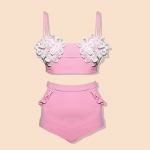 [Size S] Daisy set (สีชมพู) ชุดว่ายน้ำ ทูพีทแนววินเทจ
