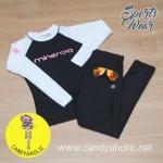 [Size S,M] ชุดว่ายน้ำ แขนยาว รุ่น Minerva (สีดำแขนสีขาว) และ กางเกง Legging ขายาว (สีดำ)