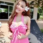 (SizeM) ชุดว่ายน้ำ วันพีช ชุดลายจุดสีชมพู Bikini_sp_005