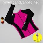 [Size M,L] เสื้อว่ายน้ำ แขนยาว ซิปหน้า รุ่น MINERVA AIR PRO (สีชมพูแขนสีดำ)