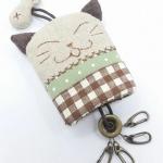 .พวงกุญแจ key cover แมว ลายสก๊อตน้ำตาล