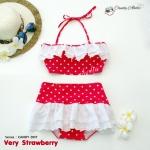 (free size) ชุดว่ายน้ำ ทูพีช มีระบายลูกไม้น่ารัก สีแดงลายจุด ผูกหลัง กระโปรงสีแดง ลายจุด บิกินี่-Very-Strawberry