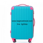 กระเป๋าเดินทางล้อลากไฟเบอร์ รุ่น colorful ฟ้าเข้มขอบชมพู ขนาด 20/24/28 นิ้ว