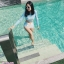 [Size S,M] Birkin ชุดว่ายน้ำแขนยาว แนว Sport สีฟ้า thumbnail 1
