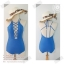 [Size S,M] ชุดว่ายน้ำวันพีช สีน้ำเงินประกายมุขถักหน้ามีฟองน้ำในตัว โชว์ถักหลัง ช่วยเน้นสัดส่วน thumbnail 1