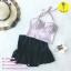 (free size) ชุดว่ายน้ำ ทูพีช ลายเสือดาวสีชมพู บราเป็นแบบสวมเต็มตัวไม่โป้ กระโปรงสีดำ thumbnail 2