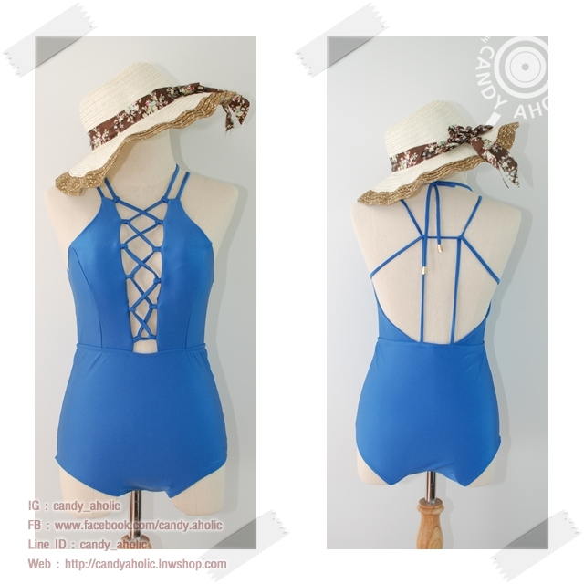 [Size S,M] ชุดว่ายน้ำวันพีช สีน้ำเงินประกายมุขถักหน้ามีฟองน้ำในตัว โชว์ถักหลัง ช่วยเน้นสัดส่วน