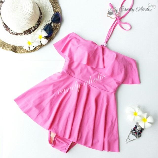(Size S) ชุดว่ายน้ำ วันพีชกระโปรง ชุดสีชมพู