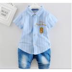 **ชุดเช็ตกางเกงยีนต์เสื้อเชิ๊ตเลข 8 สีฟ้า | ฟ้า | S-XL | 4ชุด/แพ๊ค | เฉลี่ย 200/ชุด